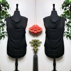Zara Black Waterfall Drape Black Tunic Top - L